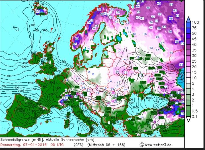 Wetter3-Schneeprognose vom 30.12.2015 für den 6./. Januar 2016. Es werden verbreitet Schneefälle in Europa und auch in Deutschland mit Neusachneemengen bis zu 140 cm in den Westalpen erwartet. Quelle: