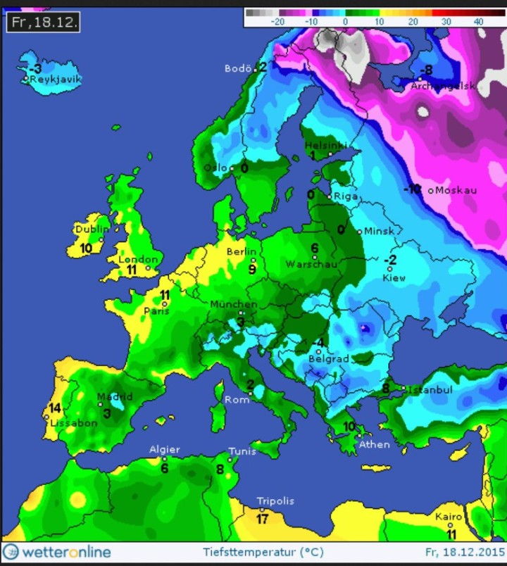 Die 2m-Tiefsttemperaturen Tmin) bis unter -20°C in der Nacht zum 18. Dezember 2015 nach heftigerm Wintereinbruch vor allem in Nordosteuropa. Quelle: