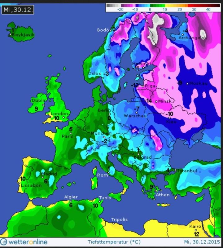 Die Farbkarte zeigt die gemessenen Tiefsttemperaturen am 30.12.2015. Die eisige Luft aus Sibirien mit Tmin um -15°C über Osteuropa hat heute Polen und den Osten Deutschlands erreicht und ist weiter auf dem Weg nach Westen. Quelle: