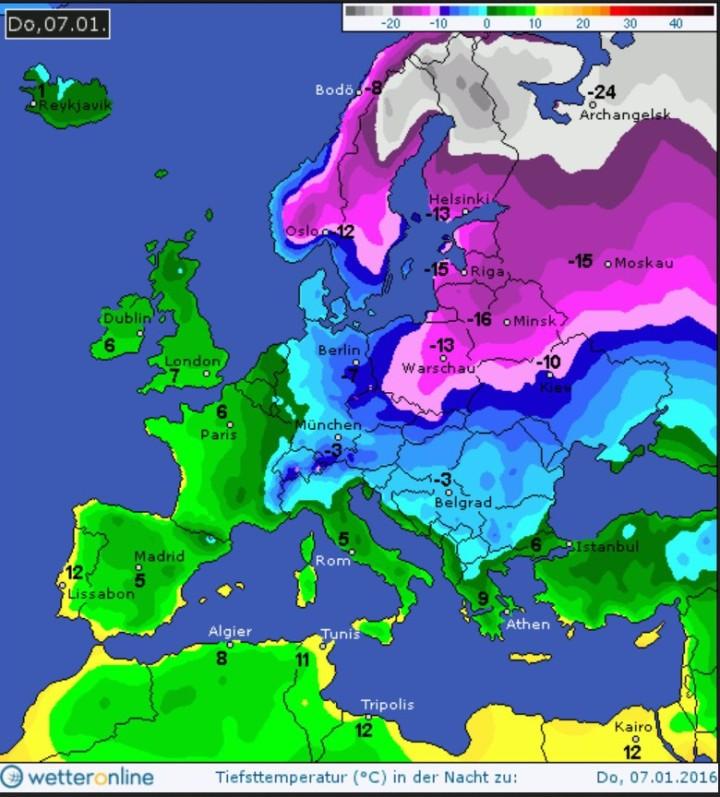 Prognose-Farbkarte der Tmin vom 30.12.2015 für den 7. Januar 2016. Die sibirische Kaltluft ist weiter nach Westen vrnagekommen, wbie sich über Deutschland eine Luftmassengrenze (LMG) gebildet hat. Quelle: