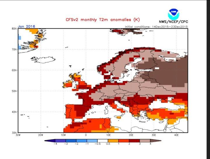NOAA-CFSv2-Prognose der 2m-Temperaturabweichungen vom 4. Januar für den Januar 2016 in Europa. Die gelben und roten Farben stellen T-Abweichungen bis zu +3K in großen Teilen Mittel- und Westeuropas dar. Quelle: