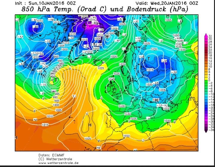 GFS-Prognose der Temperaturabweichunen in 850 hPa (1500 m) vom 10. Januar für den 20. Januar 2016. Ein kräftiges Tief über Nordrussland hat artktische Kaltluft in große Teile Europas geführt, ein Hoch über den Britiaschen Inseln unterstützt den Zustrom arktisdher Luftmassen und blockiert den Zustrom milderer atlantischer Luftmassen. Quelle: