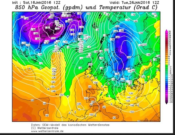 GEM-Prognose der 850 hPa-Temperaturen (1500 m) vom 16. Januar  für den 26. Januar 2016. Die eisige Kälte in großen Teilen Europas dauert an. Quelle: