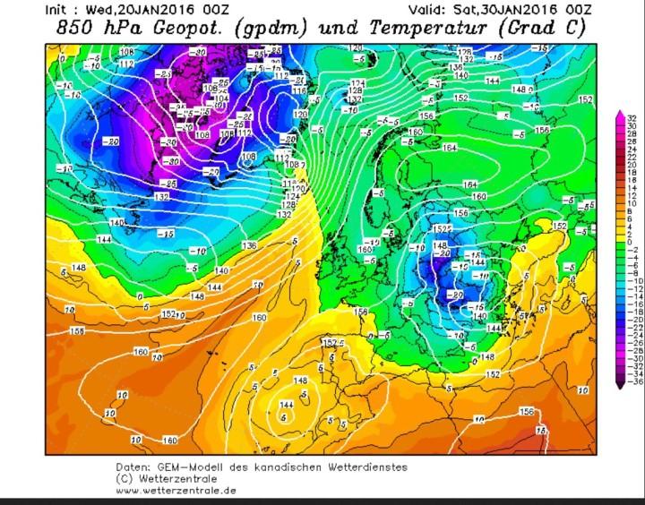 GEM-Prognose der 850 hPa-Temperaturen (1500 m) vom 20. Januar 2016 für den 30. Januar.2016. Zwischen einem kräftigen Hochdruckgebiet über Nordrussland und Finnland und einem umfangreichen und kräftigen Tief über Südosteuropa wird russische Kaltluft nach Mitteleuropa gesteuert. Quelle: