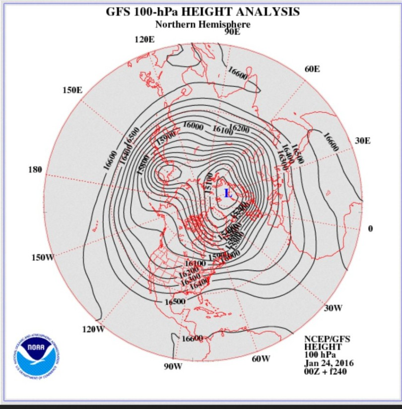 GFS-Prognose vom 24. Januar für den arktischen Polarwirbel in 150 hPa (13.000 m) zum 02./03..2.2016. Der Polarwirbel ist stark gestört und hat zwei Teilwirbel gebildet (Dipol). Der Kern des größeren südlichen Teilwirbels liegt vor Nordnorwegen. Über West- und Mitteleuropa weisen die dicht beieinander liegenden Höhenlinien (Isohypsen) auf eine kräftige Westströmung hin, was stürmisches und wechselhaftes Wetter erwarten lässt.