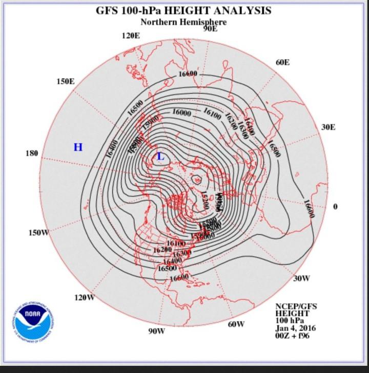 GFS-Stratosphären-Prognose vom 4. Januar 2016 für den 8. Januar 2016 in 100 hPa (rund 16.000 m). Der Polarwirbel hat sich in zwei Teilzentren über Nordsibirien und über der Labradorsee bei Grönland geteilt. Über Europa haben sich zwei versetzte großräumige kalten Tröge entwickelt. Quelle: