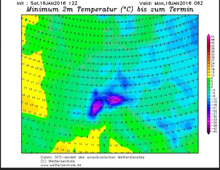 GFS-Prognose der Tiefsttemperaturen in Europa vom 16. Januar für den 18. Januar 2016: In den Alpen werden bis zu -40°C erwartet. Quelle: