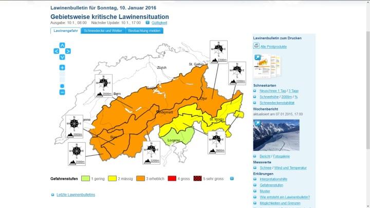 Warnung vor erheblicher Lawinengefahr Lawinenwarnung Stufe drei für die Schweiz vom 10. Januar 2016. Quelle: