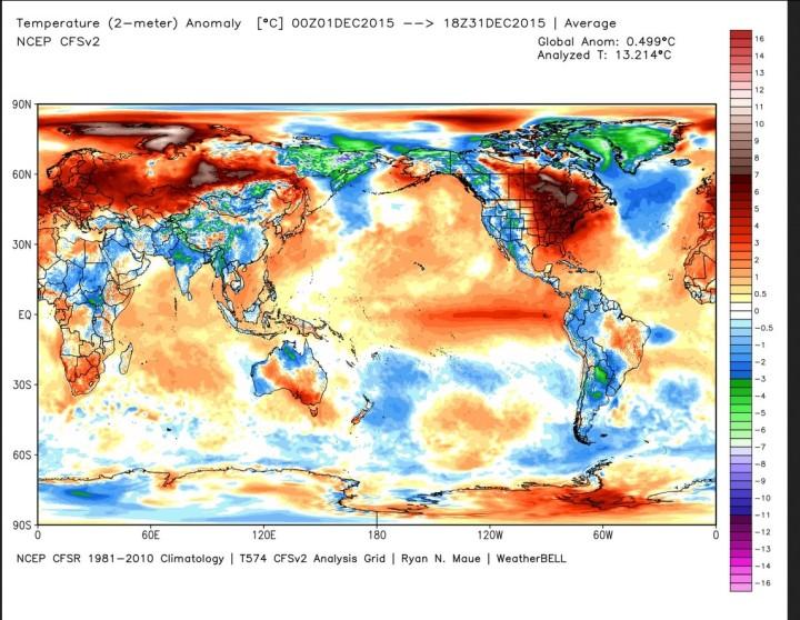 Die Abweichung der globalen Durchschnittstemperatur (2m) im Dezember 2015 beträgt 0,499 K zum international üblichen modernen WMO-Klimamittel 1981-2010 (Rang 1 von 37 Jahren, Vormonat 0,458, Rang 2 = 2003 mit 0,466 . Quelle: http://models.weatherbell.com/temperature.php