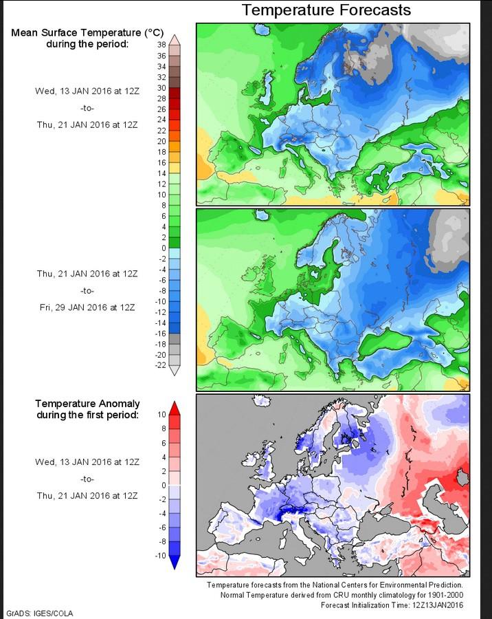 Eisige Prognose der Durchschnitts-Temperaturen in Europa vom 13. Januar bis zum 29. Januar 2015. Große Teile Europas liegen im Dauerfrost. Quelle: