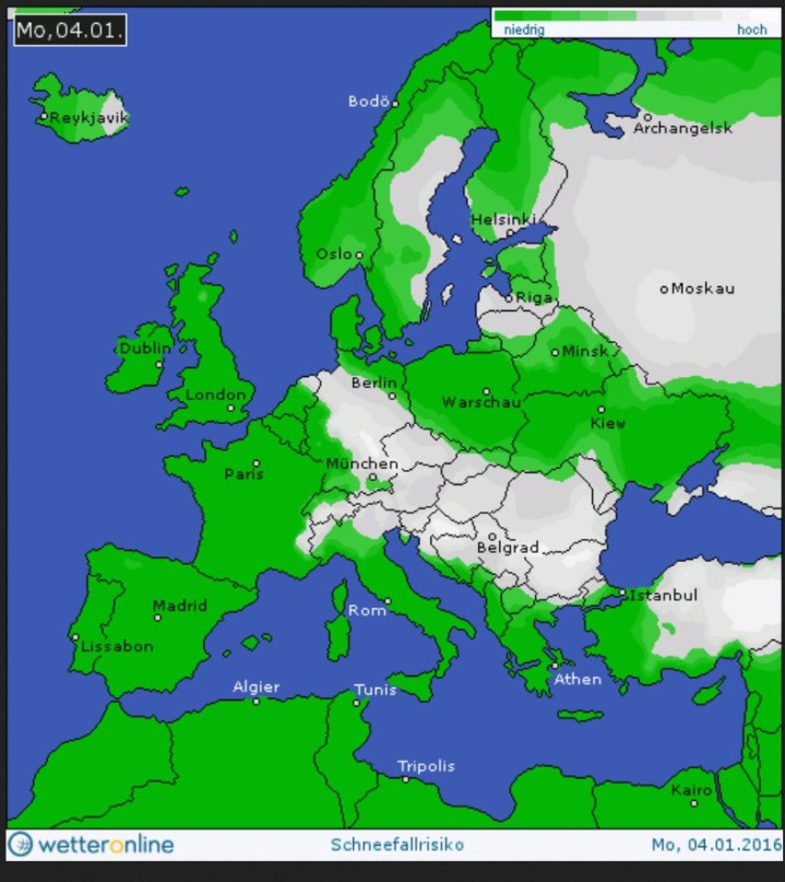 WO-Schneefallprognose vom 4.1. für den 4.1.2016 in Europa. Im Bereich der Luftmassengrenze ist verbreitet mit Schneefällen zu rechnen. Quelle: