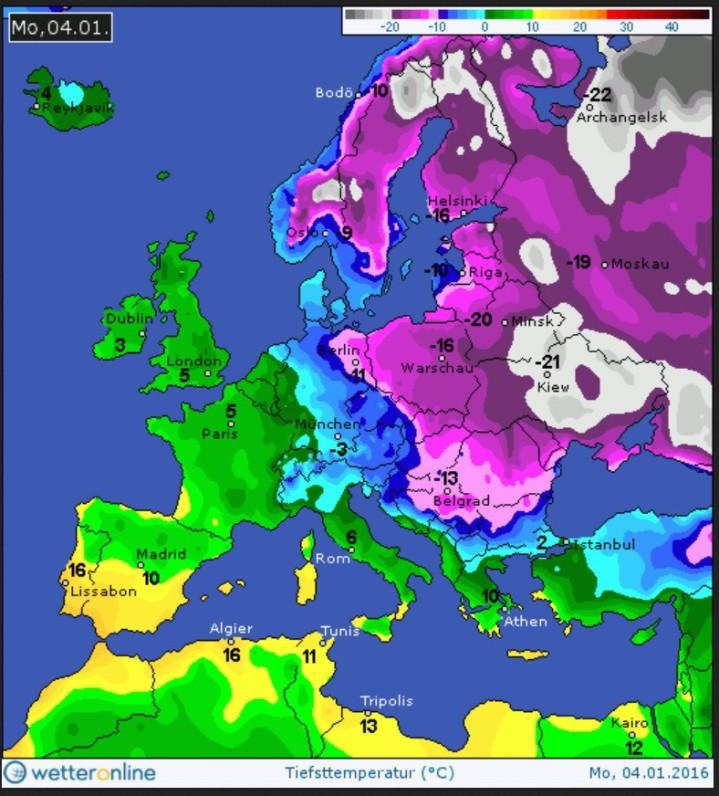 Die WO-Grafik zeigt die Tiefsttemperaturen (Tmin) in Europa am 4.1.2016. Durch Deutschland verläuft eine Luftmassengrenze zwischen eisiger russisch-sibirischer Luft im Osten und milderer Meesluft im Westen. Quelle: