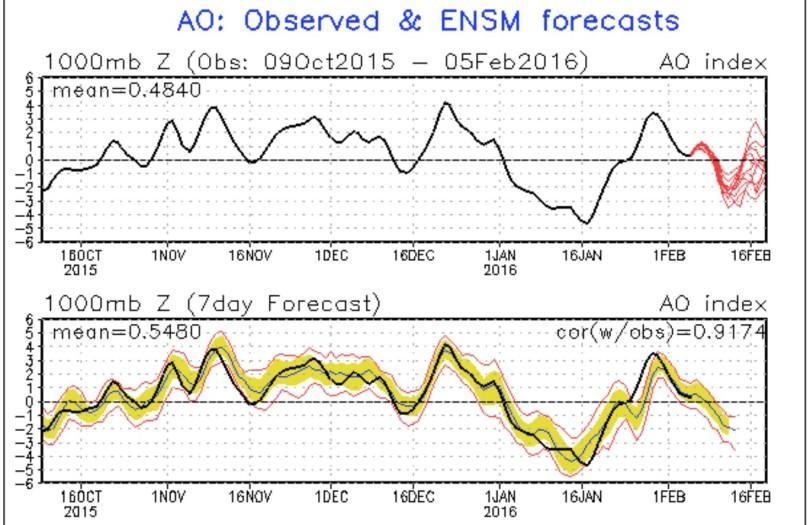 NOAA-Prognose (rote Linien in der oberen Grafik) für die Arktische Oszillation (AO) vom 4.1.2016 für die kommenden zwei Wochen. Die schwarze Linie stellt die gemessenen Werte dar. Die Prognose zeigt im Februar 2016 einen Absturz der AO-Werte in den negativen Bereich, was auf einen stark gestörten arktischen Polarwirbel hindeutet. Quelle: