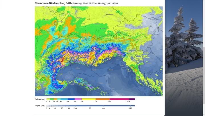 Bergfex-Prognose für Tirol vom 23. bis 29.2.2016 mit bis zu 90 cm Neuschnee in den Alpen und 40 cm im Hochschwarzwald. Quelle: