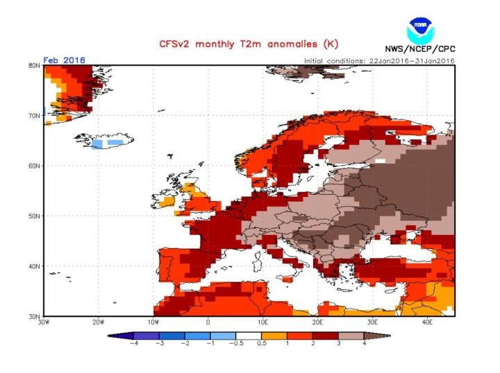 NOAA-CFSv2-Prognose der 2m-Temperaturabweichungen mit gemessenen Daten bis zum 31.1.2016 für den Februar 2016 in Europa. Die roten bis brauen Farben stellen T-Abweichungen bis zu mehr als +4K in großen Teilen Europas dar. Quelle: