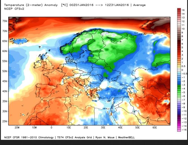 Analyse der Abweichungen der Durchschnittstemperaturen in Europa im Januar 2016 vom international üblichen modernen WMO-Klimammittel 1981-2010. Die grünen und blauen Farben in großen teilen Europas zeigen die teils kräftigen negativen Abweichungen vor allem in Nord- und Osteuropa, aber auch im nordöstlichen Mitteleuropa. Quelle: