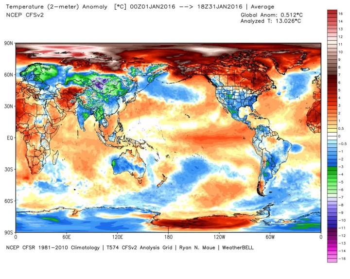 Die Analyse der globalen 2m-Temperaturabweichungen im Jahr 2015: Mit einer Abweichung von (nur) 0,27 K zum international üblichen modernen WMO-Klimamittel 1981-2010 liegt das Jahr 2015 auf Rang 6 von 37 Jahren (Chart MouseOver Tool). Bei der Betrachtung der Grafik ist zu beachten, dass beide Pole in der rechteckigen Darstellung der Erdkugel weit größer erscheinen, als sie tatsächlich sind…Quelle: What Causes El Nino Warmth?