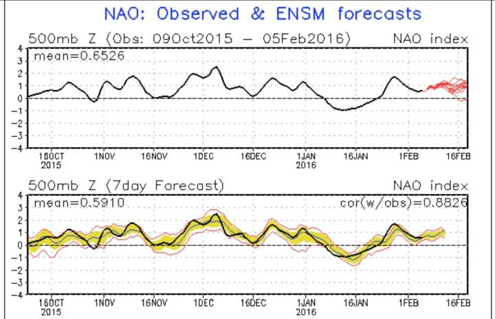 NOAA-Prognose fpr die Nordatlantische Oszillation (NAO) vom 5.2.2016 für die kommenden zweo Wochen. Die Werte beliben im positiven Bereich, was für West- und Mitteleuropa eine anhlatende Westdrift und damit mildere Temperaturen bedeuteten würde. Quelle: