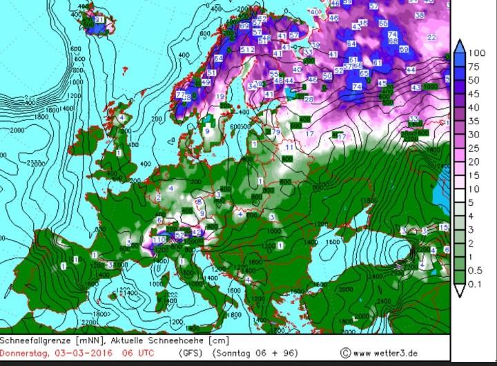 Wetter3/GFS-Prognose für Schneefall und Schneefallgrenze vom 28.2.2016 für den 3.3.2016. In Deutschland werden verbreitet zum Frühlingsbeginn 2016 Schneefälle bis ins Flachland erwartet. Quelle: