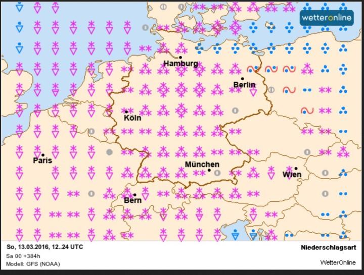 WO/GFS-Prognose vom 27. Februar für den 13. März 2016: Verbreite und teils kkäftige Schneefaäkke nichjt nut in Deutschland...Quelle: