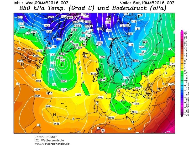 ECMWF-Prognose vom 9.3.2016 für die Temperaturen am 19.3.2016 in 850 hPa (rund 1500 m) in Europa. Zwischen hohem Druck über dem Nordatlantik und tiefem Druck über Russland und Südosteuropa strömt in breitem Strom hochreichende russisch/sibirische Kaltluft nach Südwesten und überflutet große Teile Europas. Quelle: