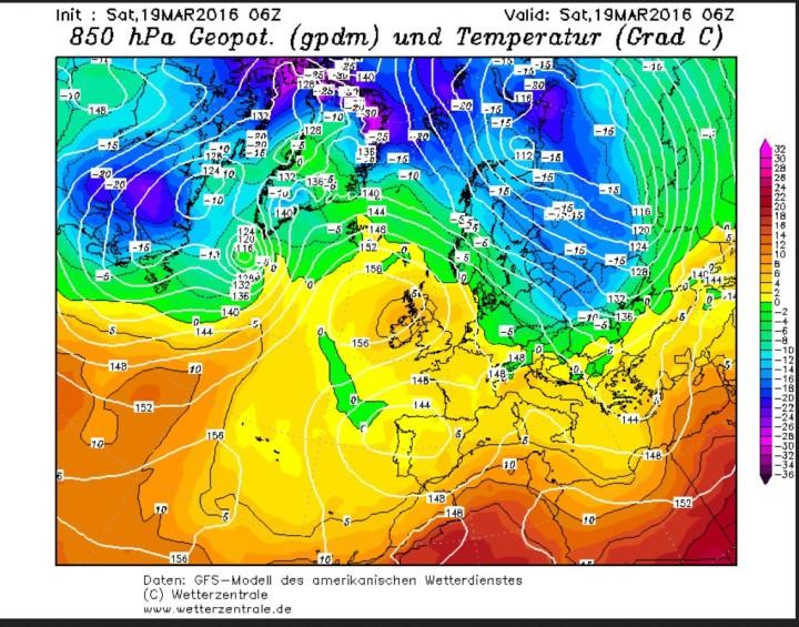 GFS-Analyse der Temperaturen in 850hPa (rund 1500m) über Europa am 19.3.2016. Zwischen einem blockierenden Hoch über dem Nordarlantik und tiefem Fruck über Nordaosteuropa und dem Mittelmeer ist hochreichende Polarluft mit temperatuten um -15°C über große Teile Europas eingeströmt. Quelle: