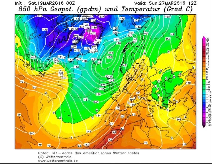 GFS-Prognose vom 19.3.2016 für die Temperaturen in 850hPa (1500 m) am 27.3.2016 (Ostersonntag). Zwischen einem kräftigen Tief bei Osland und hohem Druck über Osteuropa werden in breitem Strom hochreichende warme und feuchte subtropische Luftmassen nach West- und Mitteleuropa geführt. Quelle: