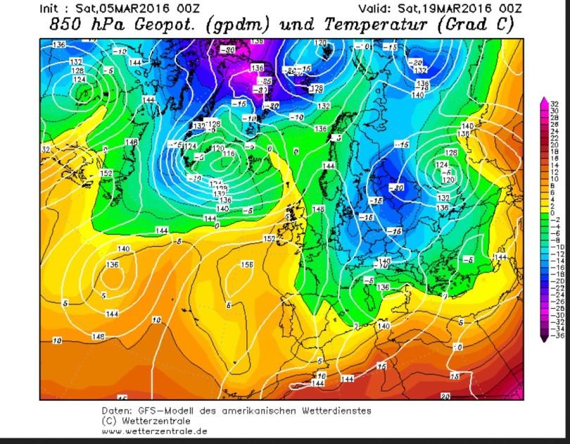 GFS-Prognose der Temperaturen in 850 hPa (rund 1500 m) vom 5.3. für den 19.3.2016. Zwiscdhen einer Hochdruckbrücke über Skandinavien und einem kräftigen russischen Tief werden in einem breiten hohreihende Strom eisige sibirische Luftmassen nach Ost- und Mitteleuropa geführt. Quelle: wie vor
