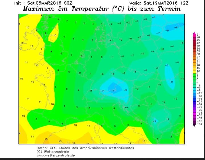 GFS-Prognose der Tmax vom 5.3. für den 19.3.2016. Mit Temperaturen verbreitet unter 0°C wird - nicht nur - in Deutschland ein Eistag gerechnet. Quelle: wie vor