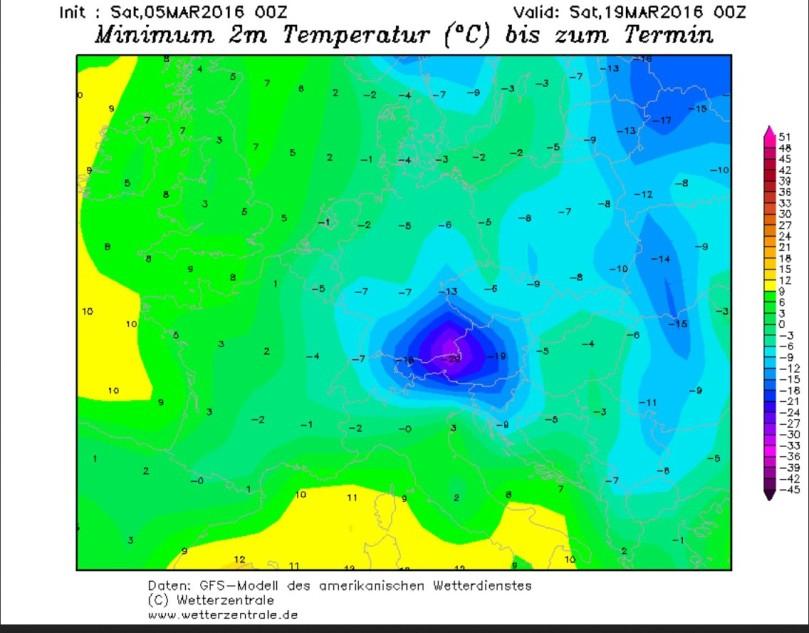 GFS-Prognose der Tmin vom 5.3. für den 19.3.2016. Der Märzwinter 2016 ist mit Nachtfrost bis -29°C in voller Fahrt. Quelle:
