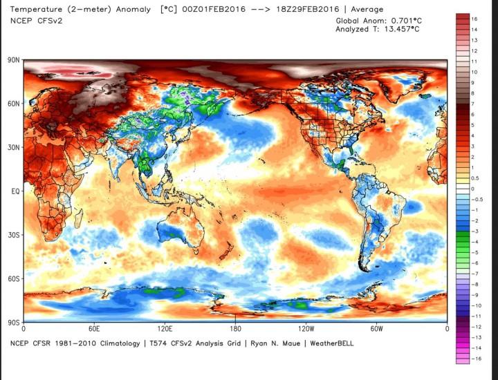 Die Analyse der globalen 2m-Temperaturabweichungen im Februar 2016: Mit einer Rekord-Abweichung von 0,70 K zum international üblichen modernen WMO-Klimamittel 1981-2010 liegt der Februar auf Rang 1 von 38 Jahren hinter 2007 mit 0,56 K (Image MouseOver Tool). Bei der Betrachtung der Grafik ist zu beachten, dass beide Pole in der rechteckigen Darstellung der Erdkugel im Verhältnis zu den äquatornahen Gebieten weit größer erscheinen, als sie tatsächlich sind…Quelle: http://models.weatherbell.com/temperature.php