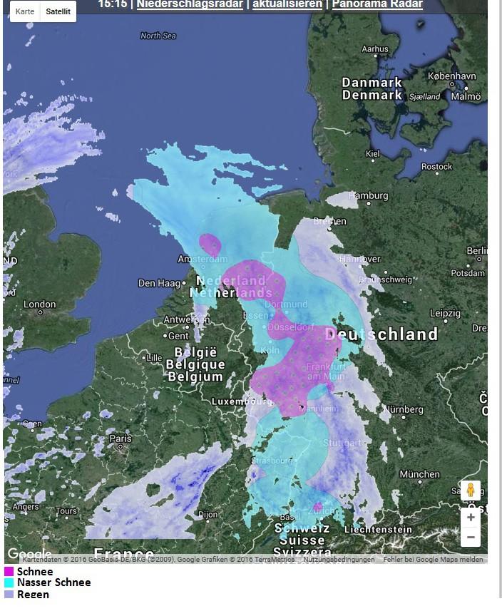 Das Schneeradar zeigt am 4. März 2016 nachmittags in der Westhölfte Deutschlands verbreiteten anhaltenden Schneefall bis ins Flachland. Quelle: