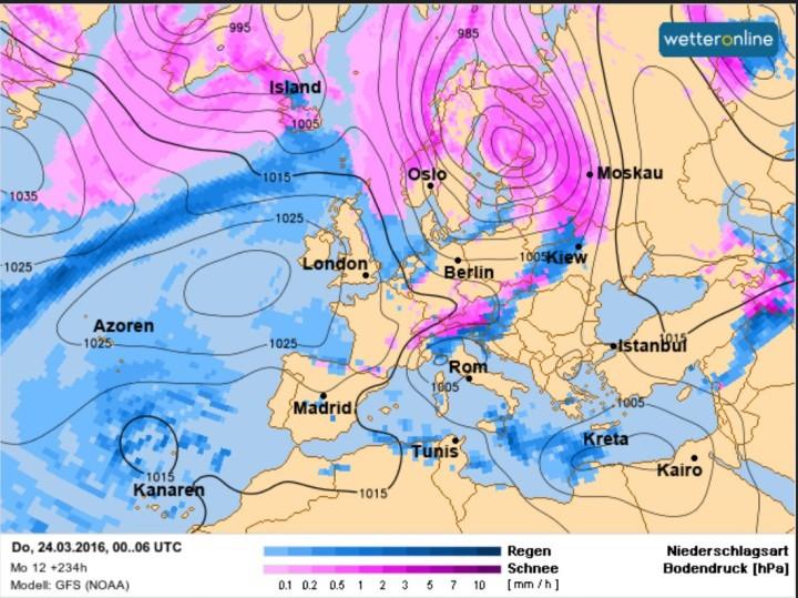 Die WO/GFS-Prognose vom 14.3. für den 24.3.2016 (Gründonnerstag). Vor Ostern 2016 störmt zwischen hohem Druck über dem Nordatlantik und tiefem Druck über Finnland hochreichende arktische Kaltluft in große Teile Europas, es kommt verbreitet zu Schneefällen bis ins Flachland. Quelle: