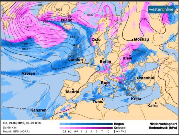 Die WO/GFS-Prognose vom 24.3. für den 24.3.2016 (Gründonnerstag). Vor Ostern 2016 strömt zwischen hohem Druck über dem Nordatlantik und tiefem Druck über Finnland und dem Mittelmeer hochreichende arktische Kaltluft in große Teile Europas. Es kommt verbreitet zu Schneefällen bis ins Flachland. Quelle: http://www.wetteronline.de/profiwetter/europa?pcid=pc_modell_expert&gid=euro&parameter=rart&base=16031412&model=gfs