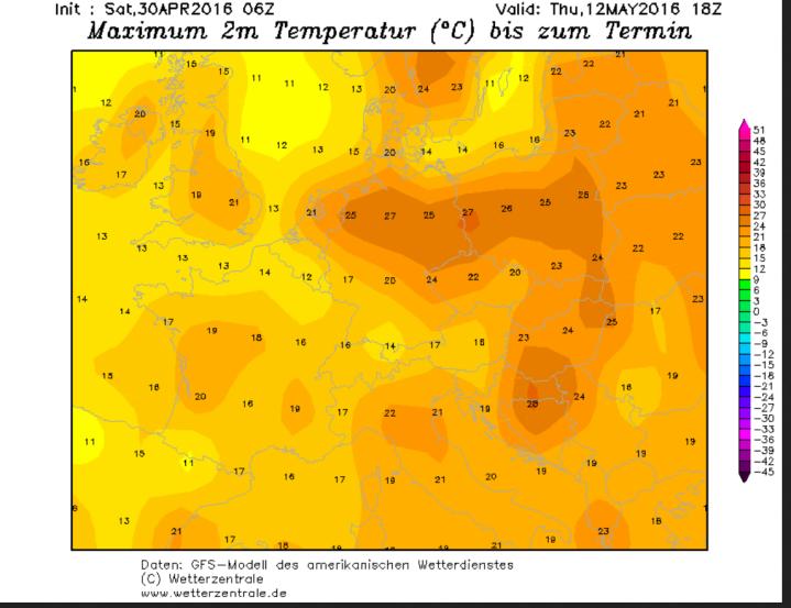 GFS-Prognose vom 30.4.2016 für die Tmax bis über 25°C in deutschland am 12.5.2016 (Eisheilige oder Heiss-Heilige?). Quelle: