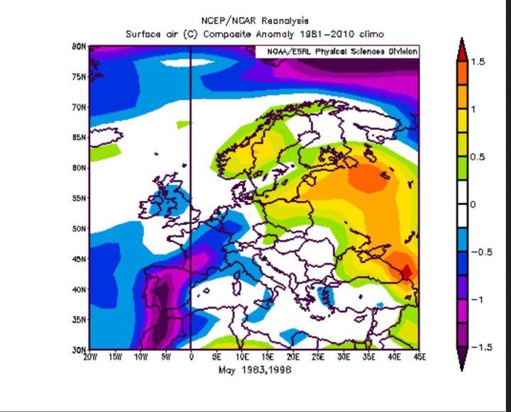 Die NOAA-Reanalyse der T-Abweichungen der El Niño-Jahre 1983 und 1998 zeigt in blauen Farben negative Abweichungen in großen Teilen Deutschlands. Deshalb ist im vergleichbaren El Niño-Jahr 2016 statistisch eher ein kühler Mai 2016 zu erwarten. Quelle:
