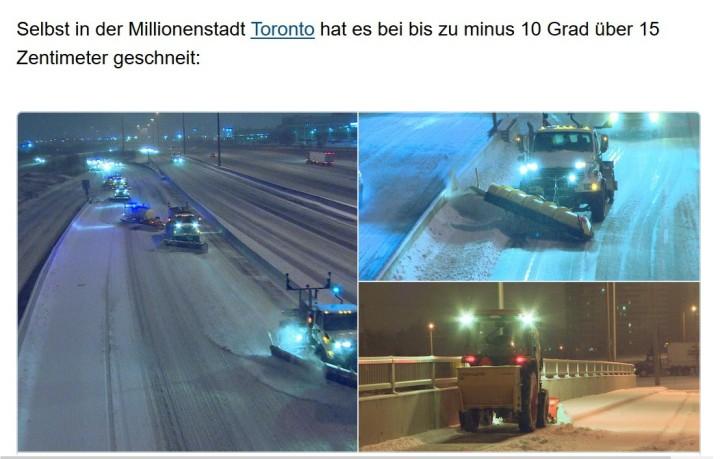 Heftige April-Kältwelle in Ostkanada mit Schnee in Toronto am 4. April 2016. Quelle: wie vor