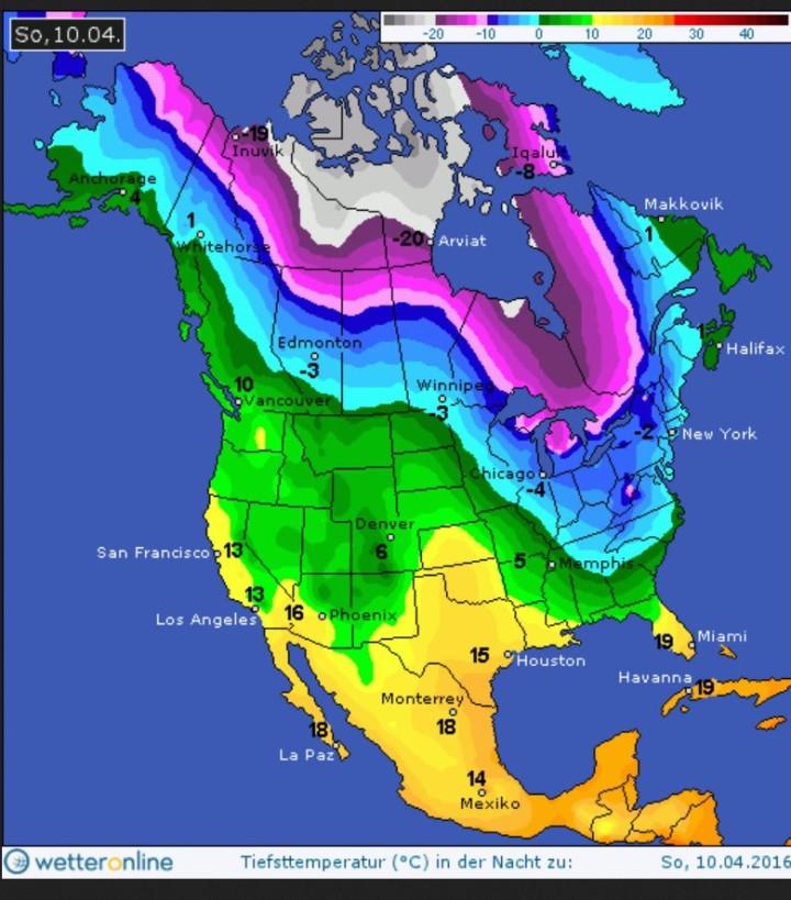 WO/GFS-Prognose vom 6.4.2016 für die Tmin in Nordamerika in der Nacht zum 10.4.2016. Von Kanada bis in die Südstaaten der USA erstreckt sich eine riesige eisige Fläche. Quelle: