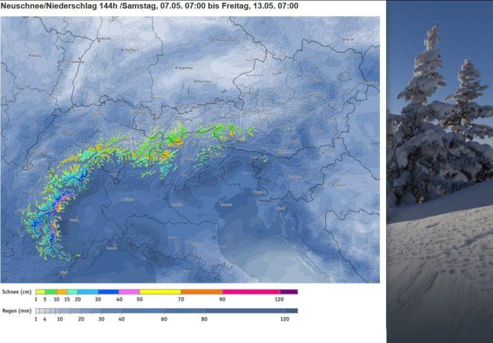 Bergfex-Prognose für die Alpen vom 7. bis 13.5.2016 mit bis zu 70 cm Neuschnee in den Westalpen (gelbe Farben). Quelle:
