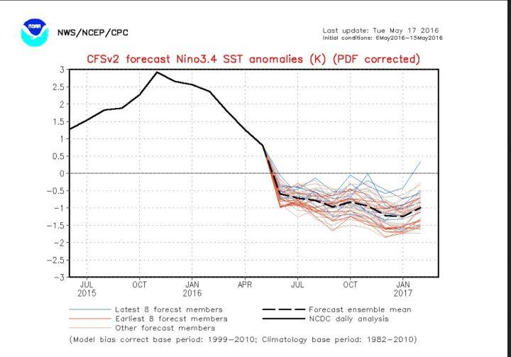 Der Plot stellt die seit 29.3.2016 korrigierte ENSO-Pognose vom 15.4.2016 für die Abweichung der Meeresoberflächentemperaturen (SSTA) im maßgeblichen ENSO-Gebiet 3.4 für die kommenden Monate vor. Die aktuellen (korrigierten) Prognosen (blaue Linien) erreichen teils bereits im Juni 2016 La Niña-Werte von -0,5 K und kälter, im NH-Herbst 2016 werden in mehreren Rechnungen bereits -2,0 K unterschritten: Eine kräftige kalte La Niña ist im Anmarsch. Quelle: http://www.cpc.ncep.noaa.gov/products/people/wwang/cfsv2fcst/CFSv2SST8210.html