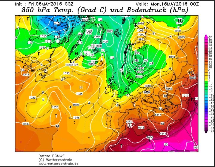ECMWF-Prognose vom 6.5.2016 für die Temperaturen in 850hPa (1500 m) am 16.5.2016. Zwischen einem kräftigen Tief über Skandinavien und hohem Druck über dem Nordatlantik werden in breitem Strom hochreichende kalte und feuchte arktische Luftmassen nach West- und Mitteleuropa geführt. Quelle: