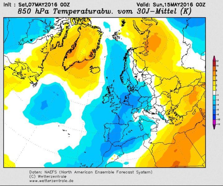 Der Plot zeigt die am 7.5.2016 berechneten Abweichungen der 850hPa-Temperaturen (rund 1500m) für den 15.5.2016 (Pfingstsonntag). Die blauen Farben zeigen über Deutscgland negative Abweichungen bis zu -3 K (°C). Quelle: