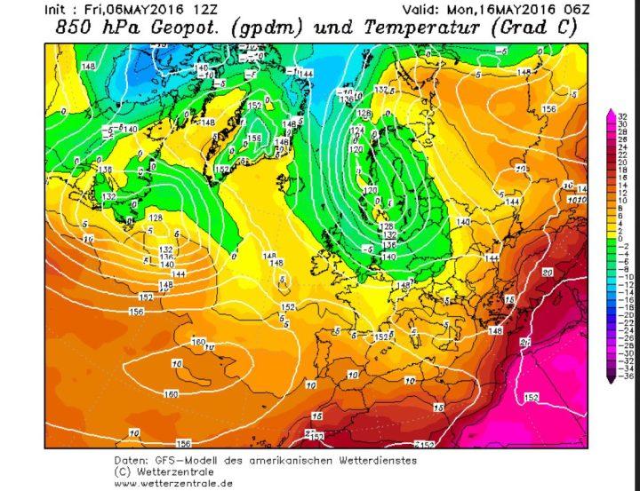 GFS-Prognose vom 6.5.2016 für die Temperaturen in 850hPa (1500 m) am 16.5.2016. Zwischen einem kräftigen Tief über Skandinavien und hohem Druck über dem Nordatlantik und dem Nordmeer werden in breitem Strom hochreichende kalte und feuchte arktische Luftmassen nach West- und Mitteleuropa geführt. Eisheiligenwetter...Quelle: http://www.wetterzentrale.de/topkarten/fsecmeur.html