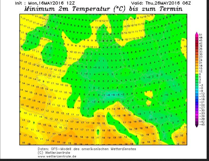 Die GFS-Prognose vom 16.5.2016 für die Tmin am 26.5.2016. Die Eisheiligen 2016 gehen mit gebietsweisen Temperaturen um 0°C in die Verlängerung.