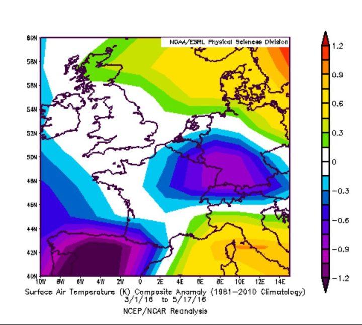 NOAA-Reanalyse der Abweichungen der 2m-Temperaturen vom internatonal üblichen modernen WMO-Klimamittel 1981-2010 in Deutschland im März und April 2016. Die lila/blau-farbenen Bereiche weisen unterdurchschnittliche Temperaturen in großen Teilen Deutschlands aus. Quelle: