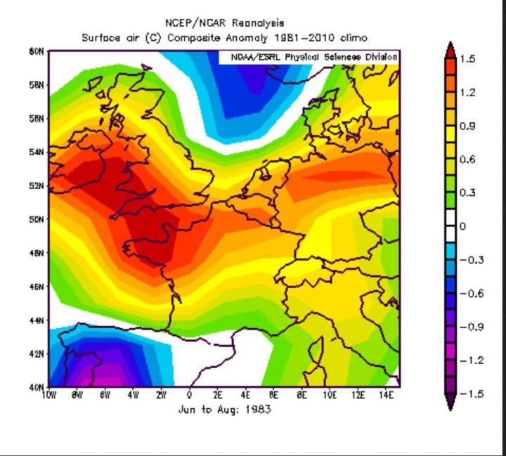 Die NOAA-Reanalyse der T-Abweichungen im El Niño-Jahre 1983 zeigt in gelb/roten Farben positive Abweichungen in großenTeilen Deutschlands. Deshalb ist im vergleichbaren El Niño-Jahr 2016 statistisch ein eher warmer Sommer 2016 zu erwarten. Quelle: wie vor