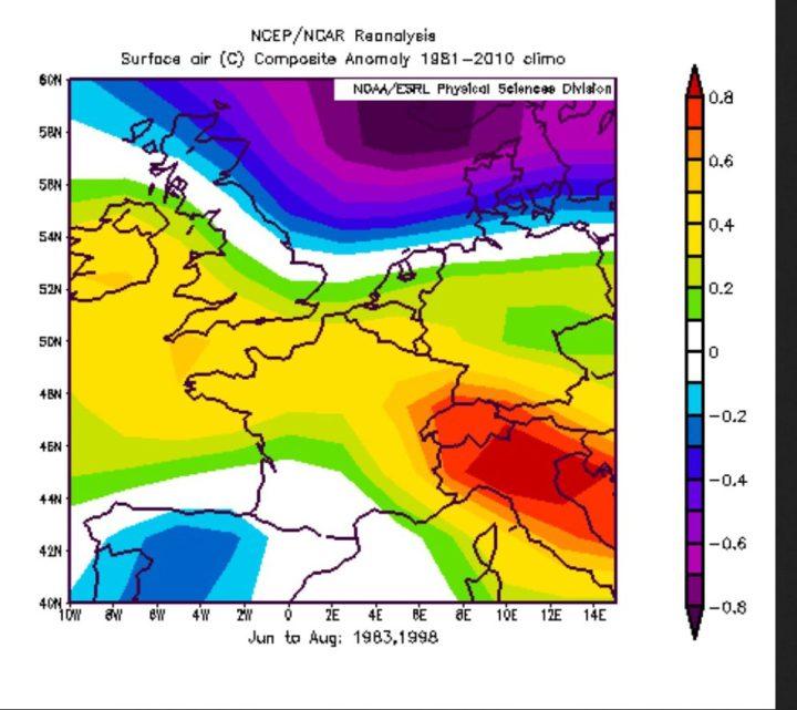 Die NOAA-Reanalyse der T-Abweichungen der El Niño-Jahre 1983 und 1998 zeigt in grün/gelben Farben positive Abweichungen in großenTeilen Deutschlands. Deshalb ist im vergleichbaren El Niño-Jahr 2016 statistisch ein eher warmer Sommer 2016 zu erwarten. Quelle: wie vor