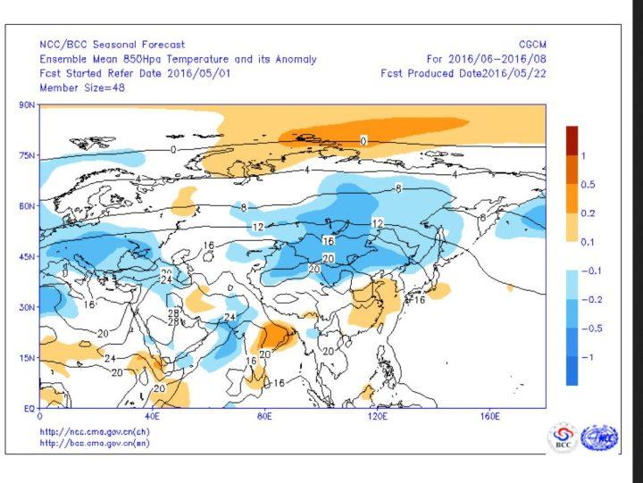 Prognose des Peking-Modells von Mai 2016 für die Abweichungen der Temperaturen in 850 hPa (rund 1500 m) im Sommer2016 in Europa. Die blauen Flächen weisen auf unterdurchschnittliche Temperaturen auch in Deutschland hin. Quelle: