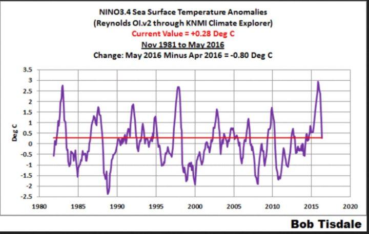 Der Plot zeigt den Verlauf der Abweichungen der Meeresoberflächentemperaturen (SSTA) im Niño-Gebiet 3.4. Die Abweichungen liegen im Mai 2016 mit 0,3 K unterhalb des El Niño-Wertes von mindestens 0,5 K. Auffällig ist der deutliche Unterschied zu den wiederholt verfälschten (gekarlten) Werten von NOAA von 0,64(!) K für den Monat Mai 2016...Quelle: