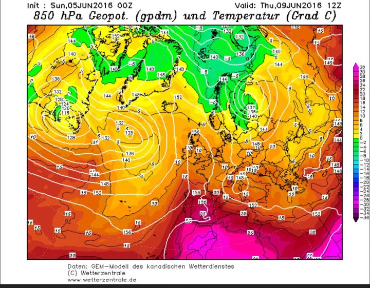GEM-Prognose vom 5.6.2016 für den Luftdruck und die Temperaturen in 850 hPa (rund 1500 m Höhe) am 9. Juni 2015. Ein hochreichendes und umfangreiches Tief über Skandinavien führt an seiner Westseite kühle und feuchte Polarluftmassen nach Mitteleuropa. Die Schafskälte ist da, der europäische Sommermonsun bei der Arbeit. Quelle: